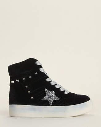 Nina Kids Girls) Black Ima Studded Velvet High-Top Sneakers