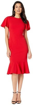 Calvin Klein Short Sleeve Ruffle Hem Dress (Red) Women's Dress