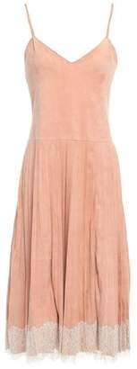 RED Valentino Lace-trimmed Suede Midi Slip Dress