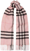 Burberry Fringed Checked Cashmere Scarf - Pink