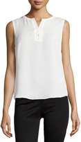 Laundry by Shelli Segal Sleeveless Lace-Up Top, Pearl