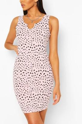 boohoo Dalmatian Print Notch Bodycon Rib Dress