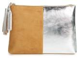Loeffler Randall Tassel Metallic Leather & Suede Pouch - Beige