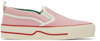 Gucci Pink Tennis 1977 Tweed Slip-On Sneakers
