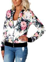Leezeshaw Womens Casual Floral Quilted Lightweight Jacket Short Bomber Jacket Coat