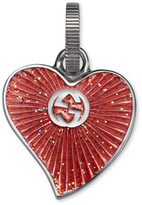 Gucci Enameled heart charm in silver