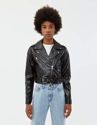 Veda Women's Vinyl Baby Jane Moto Jacket in Black, Size Extra Small | Leather