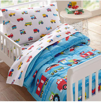Wildkin Trains, Planes and Trucks 4 Pc Bed in a Bag - Toddler Bedding