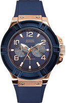 GUESS W0247G3 Rigor rose gold-toned PVD stainless steel and rubber watch