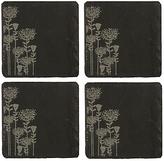 Just Slate Botanical Etched Coasters, Set of 4, Black