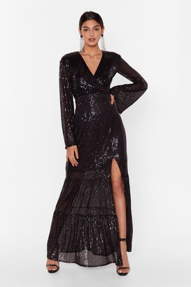 Nasty Gal Womens How Long Can Disco Go on Sequin Maxi Dress - black - 6