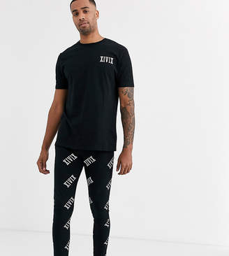 Asos Design DESIGN Tall lounge megging and tshirt pyjama set in monochrome with roman numerals print-Black