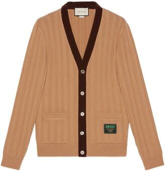 Gucci Rib knit wool cardigan with label