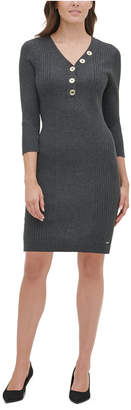 Tommy Hilfiger Henley Button Ribbed Sweater Dress