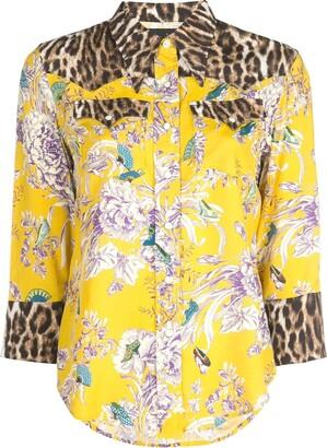 R 13 floral leopard print shirt