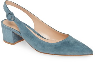 Gianvito Rossi Buckle Pointed Toe Slingback Pump