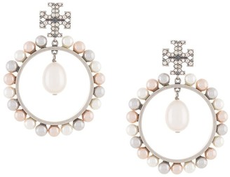 Tory Burch Crystal Logo Statement Earrings