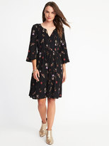 Old Navy Cinched-Waist Bell-Sleeve Dress for Women