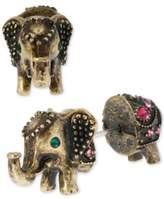 Betsey Johnson Brass-Tone Elephant Front-Back Stud Earrings
