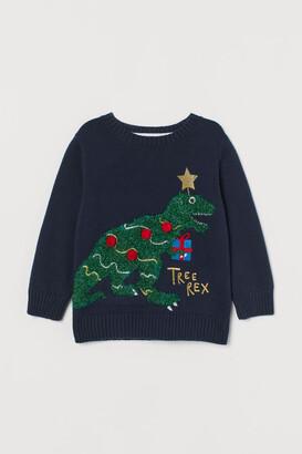 H&M Appliqued Sweater - Blue