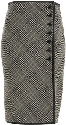 Saint Laurent Houndstooth Pencil Skirt
