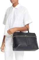 Kara Pebbled Leather Satchel - Black
