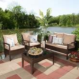 Baxton Studio Empire 4-Piece Outdoor Seating Set with Cushions in Brown