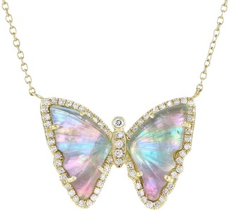 Kamaria Fairy Tourmaline Butterfly Necklace With Pearl & Diamonds