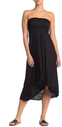 BOHO ME Knit Strapless Ruffle High/Low Tube Dress