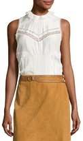 Derek Lam 10 Crosby Sleeveless Pintucked Silk Peplum Blouse, Soft White