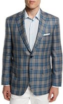 Brioni Plaid Two-Button Cashmere-Blend Jacket, Gray/Light Blue