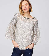 LOFT Floral Lace Smocked Sleeve Top