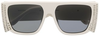 Linda Farrow Magda crystal square sunglasses