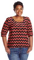 Star Vixen Women's Plus-Size 3/4 Cinch Sleeve Top with Necklace