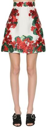 Dolce & Gabbana A Line Silk Mikado Mini Skirt