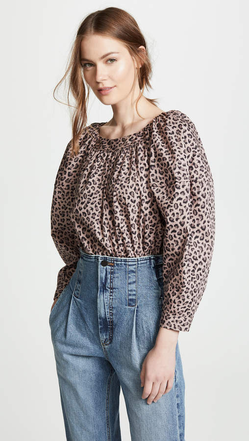 Rebecca Taylor Long Sleeve Ocelot Top