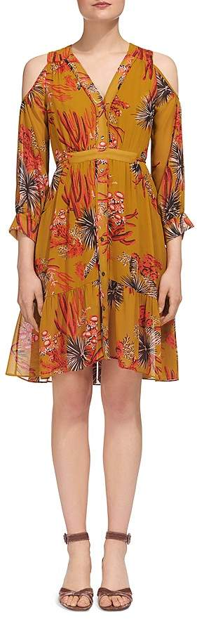 Whistles Cactus Print Cold-Shoulder Dress