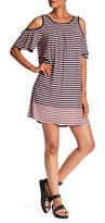 Max Studio Stripe Cold Shoulder Jersey Dress