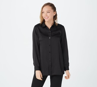 Linea by Louis Dell'Olio Polyester Satin Button Front Blouse