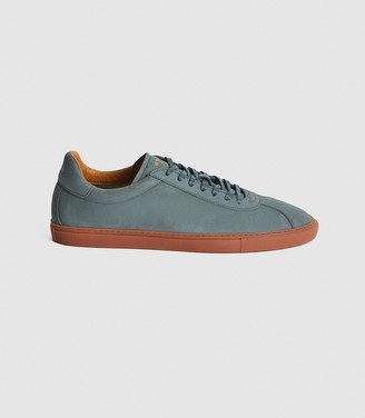 Reiss GLOVE LEATHER CONTRAST SOLE TRAINERS Teal