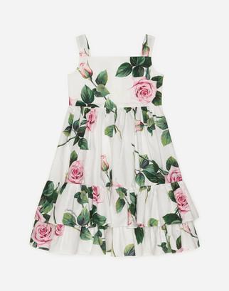 Dolce & Gabbana Poplin Midi Dress With Tropical Rose Print