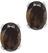 Gem Stone King 2.40 Ct Large Oval 8x6MM Smoky Quartz 4-prong Stud Earrings