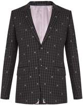 Gucci Bee-embroidered single-breasted wool suit
