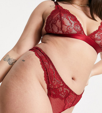 ASOS DESIGN Curve Arabella lace thong in red