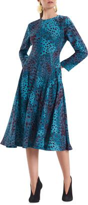 Natori Cheetah-Print Long-Sleeve Crepe Midi Dress