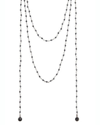 Adornia Fine Jewelry Silver 2 Black Spinel Rosary Bead Necklace