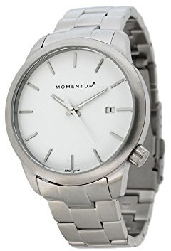 Momentum Womens Quartz Watch | Logic 36 by | Stainless Steel Watches for Women | Sports Watch with Japanese Movement & Analog Display | Water Resistant Women's Watch with Date White/Steel