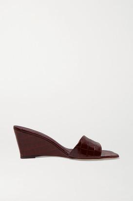 STAUD Billie Croc-effect Leather Wedge Mules - Brown