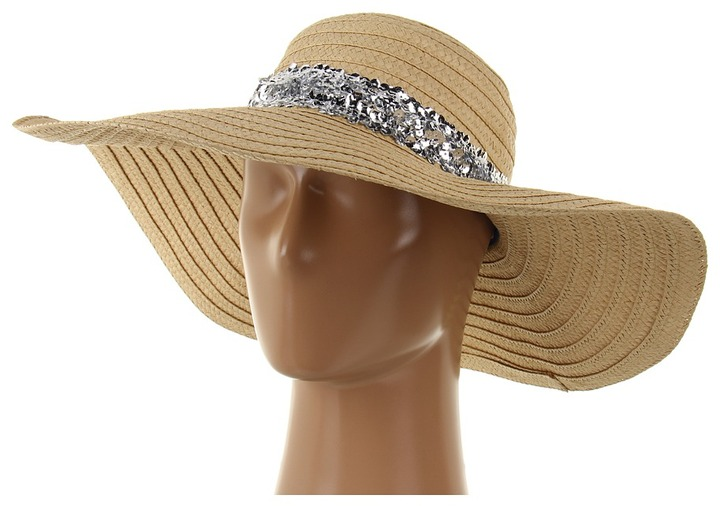 Juicy Couture Wide Brim Straw Sun Hat w/ Sequin (Silver) - Hats
