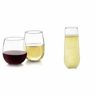 Libbey Stemless 12-Piece Wine Glass Party Set for Red and White Wines & Stemless Champagne Flute Glasses Set of 12